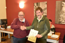 Alan Stanley presenting fifty years certificate to Brian Whiting.