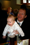 Alfie and me at The Plough & Sail for Maddie's Naming Day party.