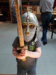 Alfie dressed up at Sutton Hoo.