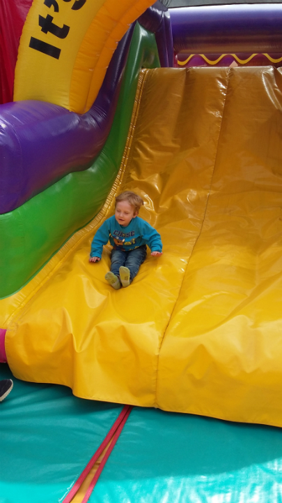 Alfie on the bouncy castle.