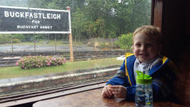Alfie on the train at Buckfastleigh station on South Devon Railway.