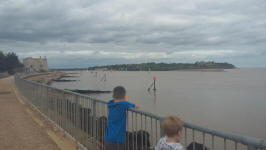 Mason and Alfie overlooking the mouth of the River Deben between Felixstowe Ferry and Bawdsey.