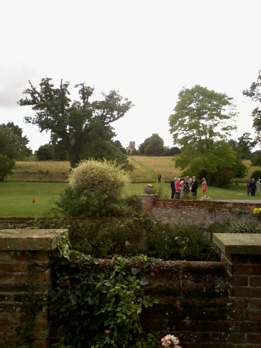 View of Boxted church from the front of Boxted Hall.