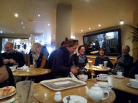 Crowded into Costa Coffee after morning ringer at St Mary-le-Tower.