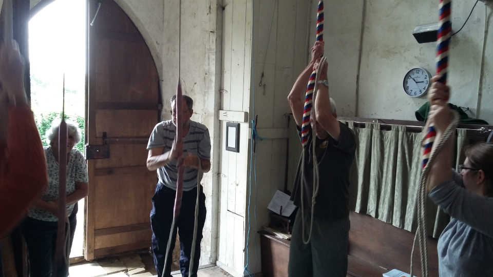 Ringing at Dennington for the SE District Practice – l to r; 3rd Diana Pipe, 4th Robert Scase, 5th Stephen Cheek & tenor Ruth Munnings