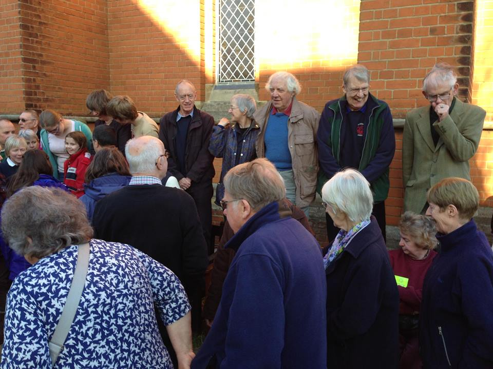 Gathering everyone together for the Guild photo at the AGM in Felixstowe