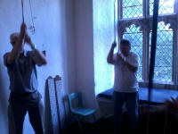 Jim Crabtree (on 3rd) and Mike Dew (on tenor) ringing at Graveley on Rambling Ringers Tour.