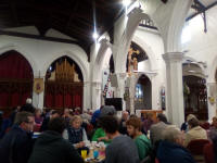 Having tea at the 2019 Suffolk Guild AGM in St Matthew's church.
