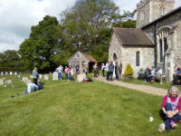 Listening to the ringing outside at Polstead.