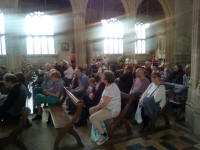 Andrew Kelso & Brian Meads giving the results for the Rose Trophy in Lavenham church.