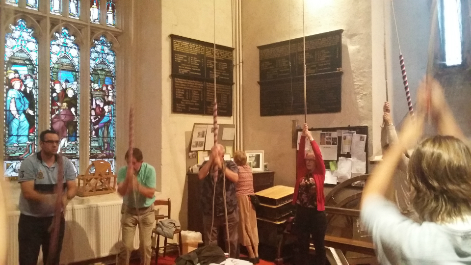 Ringing at Hitchin - L to r; Ian Culham on 10th, Brian Whiting on 11th, Jed Flatters on Tenor, Sally Munnings, Sue Williamson on Treble, Helen Carter.