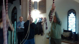 Ringing at St Lawrence - Alan Munnings on 3rd, Stephen Cheek on the 4th and Peter Davies watching on.