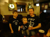 Mason, Alfie and me at The Dove in new family t-shirts given us at Christmas by Chris and Becky!