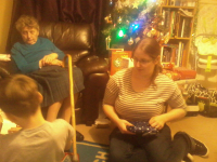 More present opening at ours on Boxing Day - Mason, Aunty Marian & Ruthie.