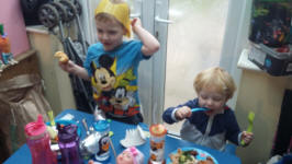 Alfie & Joshua getting into the Christmas spirit at Granny Kate's.