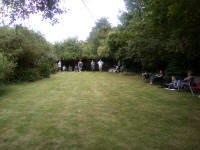 Playing boules at the Offton BBQ.