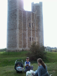 Having a picnic outside Orford Castle.