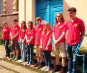 The Suffolk Young Ringers team outside Old St Martins in the Cornmarket, Worcester.