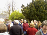 Ringers gathered outside Monewden awaiting the draw.