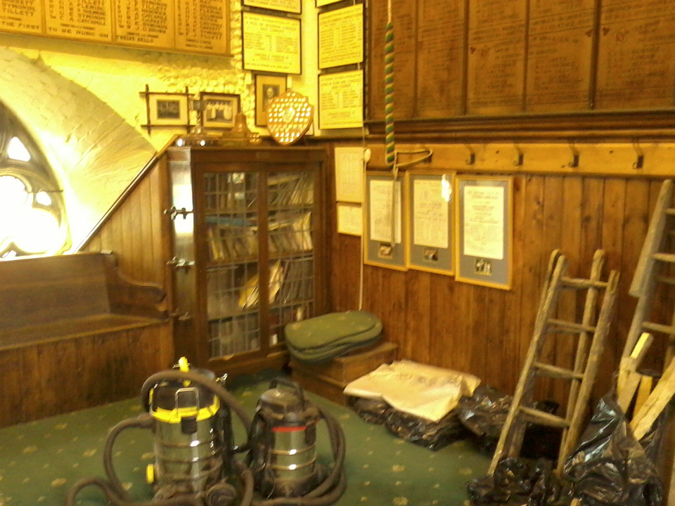 The ringing chamber at St Mary-le-Tower looking a little untidier than usual!