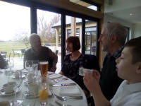 L to r; Stephen Cheek, Jill Birkby, Chris Birkby and Mason at the St Mary-le-Tower Dinner at Fynn Valley Golf Club.