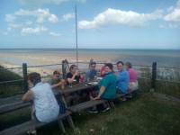 In the beer garden at The Ship Inn at Mundesley.