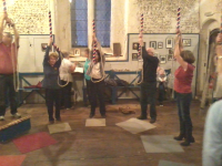 Ringing on the South-East District Outing at Wymondham Abbey.