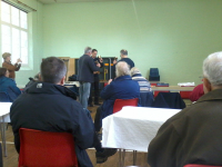 Ringing at the fringe meeting on handbells, with James Smith, Trevor Hughes, Philip Gorrod & Neil Thomas.