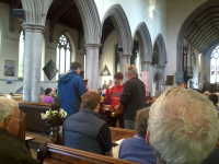 Handbell ringing at the start of the service with George Salter, Trevor Hughes, Philip Gorrod & Brian Whiting.