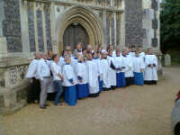 Choirs of St Mary's Woodbridge and St Mark's Hamilton Terrace after Evensong at the former.