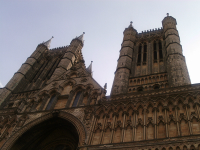 The west front of Lincoln Cathedral - the bells are in the right hand tower.