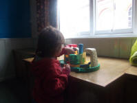 Mason takes advantage of the toys in the 'Toy Library' at St Mary's Church Hall.
