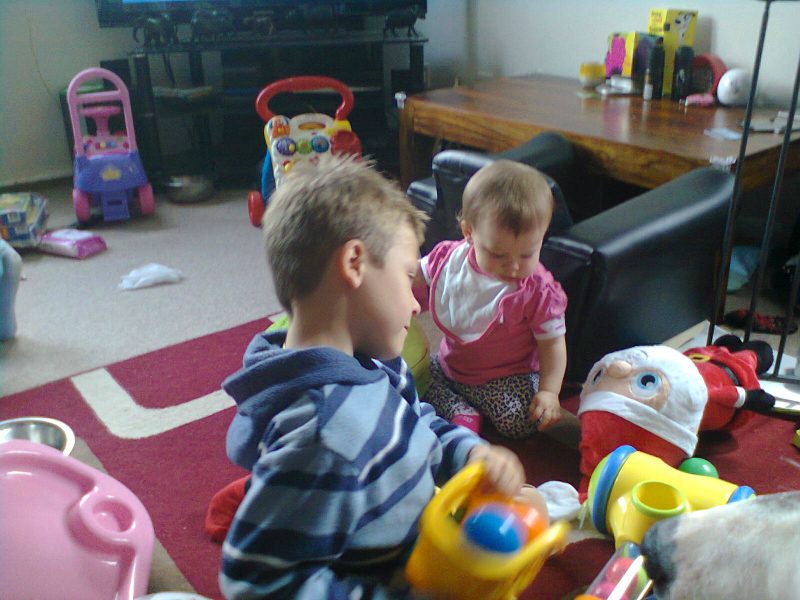 Mason and Katelynn playing together.