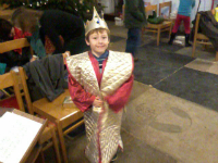 Mason as a wise man at the church nativity.
