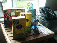 Mason's Easter egg collection.