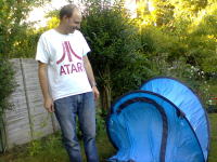 Pete proudly showing off his pop-up tent...