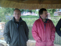 David Stanford & Brian Whiting ready for battle by the river outside The Mermaid.