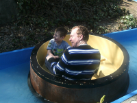 Mason and me getting wet at Sundown Adventureland.